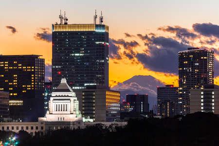Parliament House and Mt Fuji 版權商用圖片