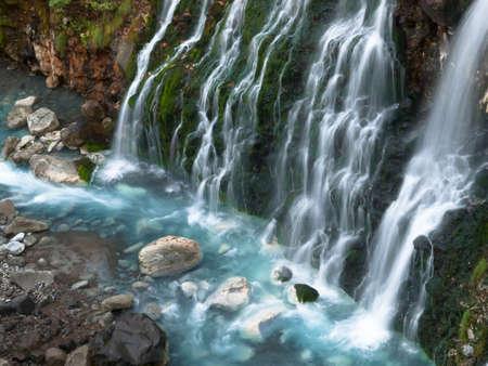 Hokkaido Biei Shirogane Onsen Shirahige Waterfall 写真素材