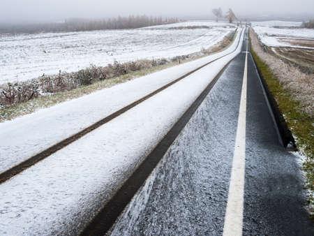 Snowy road 写真素材