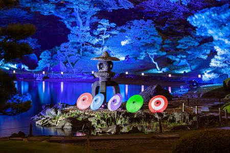 Former Shiba Rikyu Garden Light-up 写真素材