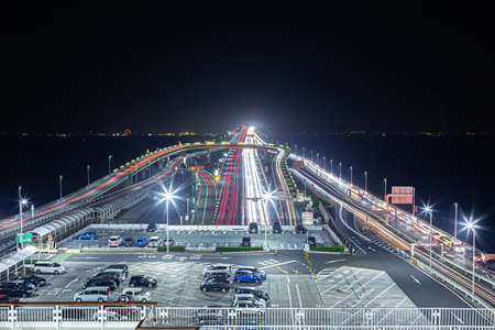 Kaihotaru Parking Area Night View 写真素材