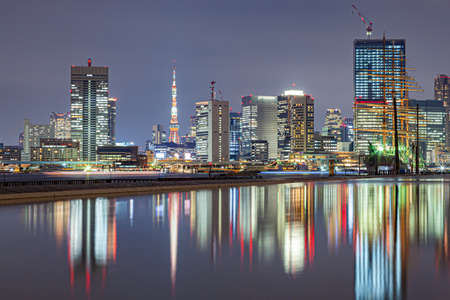 The night view of Tokyo reflected on the surface of the water