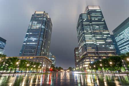 Night view of rainy day in Tokyo Marunouchi