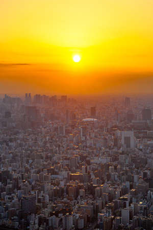 Tokyo's rooftops and sunset from the Tokyo Sky Tree Observatory 写真素材