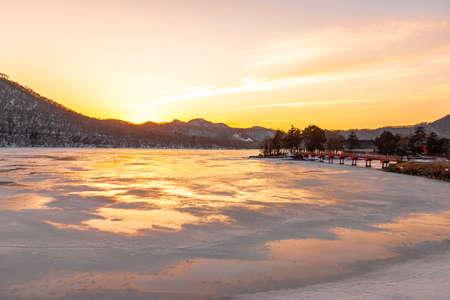 Mt. Akagi, Gunma Prefecture Frozen Winter Onuma Evening View