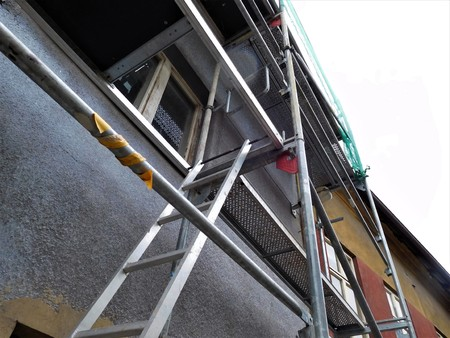 The scaffolding is use for some repair or building somehing