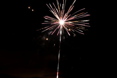 The firework´s show on the black sky on the midnight
