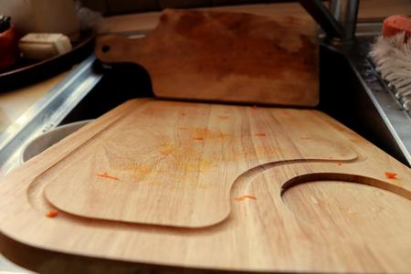 The wooden dirty board in kitchen sink Stok Fotoğraf