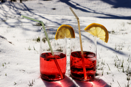 Two same syrup coctails for refreshing in hot days in summer