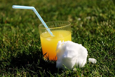 A orange coctail with snow ball in grass on the beginning garden party