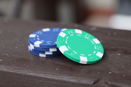 A small heap of jettons. It can be used in roulette, poker. Stock Photo