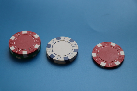A few small pipes of tokens for gambling and for poker Stok Fotoğraf