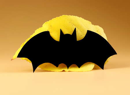 A black bat on yellow leaf on orange background. Halloween´s decoration for halloween party. Scaring Banco de Imagens