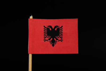 A official and national flag of Albania on toothpick on black background. A red field with the black double-headed eagle in the center.