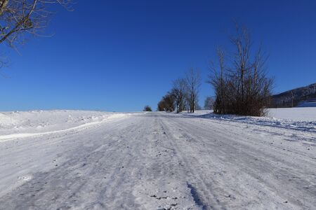 Wonderful typical winter road with black gravel for better stability on the route. Smooth surface on main route in czech republic