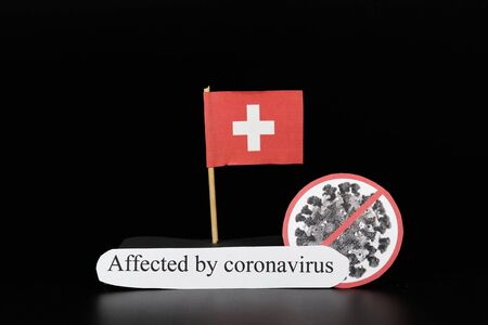 Switzerland was affected by coronavirus with type Covid-19. A serious illness that manifests as a flu but may break out in pneumonia. Coronavirus infected whole world. Epicentre in China, Italy, Korea. Banco de Imagens