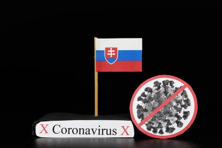 Flag of Slovakia with cell of Covid-19 type which is of a group of RNA viruses. Pandemic disease on the same basis as the flu. Slovakia is another country where number of infected people increases. 版權商用圖片
