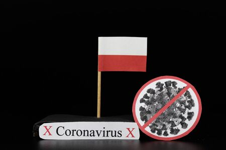Flag of Polish with cell of Covid-19 type which is of a group of RNA viruses. Pandemic disease on the same basis as the flu. Poland is another country where number of infected people increases.
