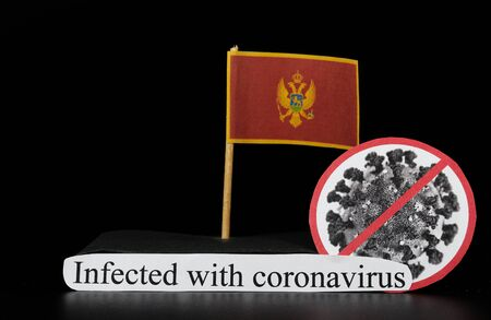 Montenegro is one of many lands affected by coronavirus. Covid-19 is type of group of RNA viruses that cause a variety of diseases in humans, mainly respiratory tract. Viral disease. Medicine. Panic