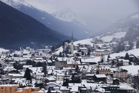 Sillian is a market town in the district of Lienz, in the Austrian state of Tyrol. View on city from ski slope in winter months. Village on the borders with Italy and Austria. Ski resort.