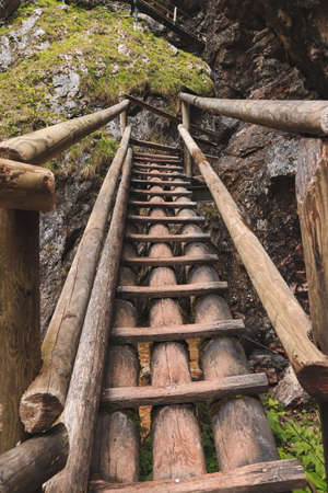 Very dangerous trail along wooden ladders in the southeast of Austria in the Fischbach Alps to top of the Hochlantsch through beautiful gorge, where there are countless waterfalls. Barenschutzklamm.