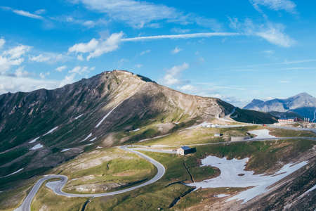 Picturesque view of the very visited Austrian road Grossglockner Hochalpenstrasse and the highest point of this road Edelweißspitze (2,504m). Fuscher Törl and Hochtor Pass