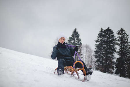 Teenager caught riding on a wooden sledge trying to adjust his direction with his hand and concentrating on his ride. In winter, the athlete goes down the piste on a historical object.