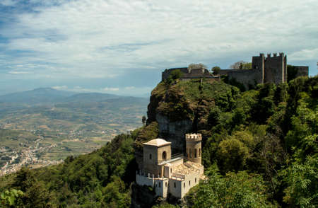 erice: A view of the beauiful Venere Castle in Erice, Sicily, Italy Editorial