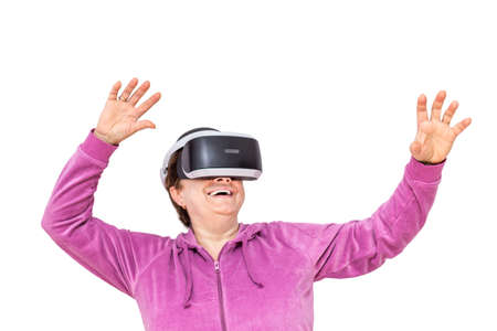 senior woman with VR goggles enjoying virtual experience