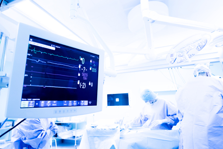 heart monitor to keep track of vital functions of the body during cardiac surgery