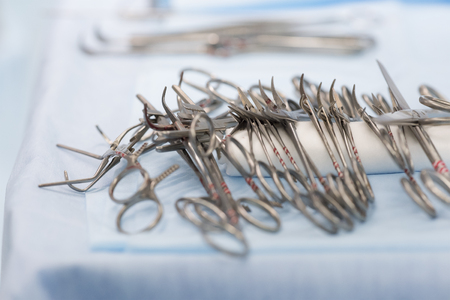sterile surgical instruments on during the operation table