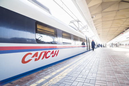 city traffic: High-speed train Sapsan on the platform of the Leningrad railway station
