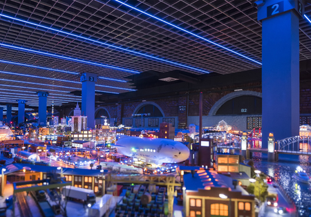 St. Petersburg, Russia - March 16, 2017: Fragment Big Grand Maket Russia. Grand Maket Russia the worlds largest model of Russia from Kaliningrad to the Far East.