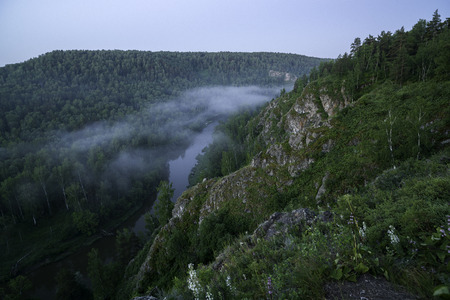 the magnificent: Mountain forest landscape. Trees and the river in the fog in the early morning. Stock Photo