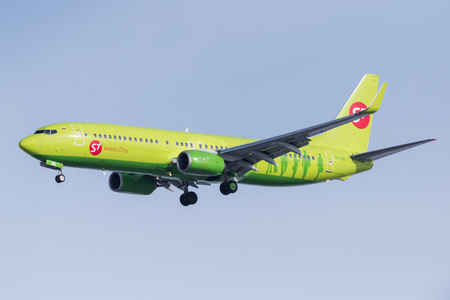 Novosibirsk, Russia - February 20, 2018: Boeing 737-8LP VQ-BMG S7 Airlines approaches for landing at the international airport Tolmachevo.