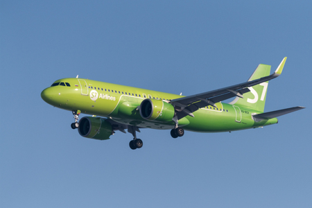 Novosibirsk, Russia - February 18, 2018: Airbus A320-271N  VQ-BCR S7 Airlines approaches for landing at the international airport Tolmachevo. Editorial