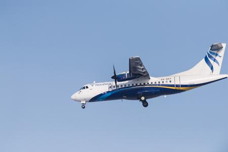 Novosibirsk, Russia - February 18, 2018: ATR 42-500 VQ-BKP NordStar airlines before landing at the international airport Tolmachevo. Editorial