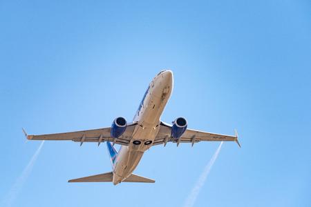 Novosibirsk, Russia - April 27, 2018: Boeing 737-86N VQ-BIZ Yakutia Airlines  after takeoff from Tolmachevo International Airport.