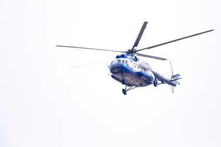 Novosibirsk, Russia - April 27, 2018: Mil Mi-8T Hip RF-28960 Police in the sky near Tolmachevo International Airport