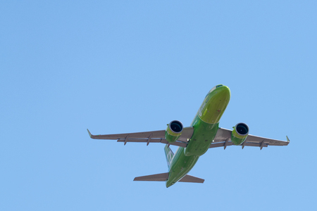 Novosibirsk, Russia - April 27, 2018: Airbus A320-271N VQ-BCH S7 Airlines after takeoff from Tolmachevo International Airport.
