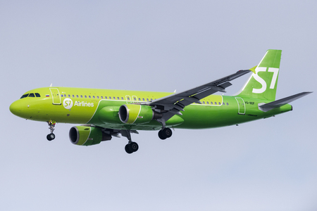 Novosibirsk, Russia - March 10, 2018: Airbus A320-214 VQ-BDF S7 Airlines approaches for landing at the international airport Tolmachevo.