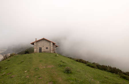 brick house in the mountains, in the covadonga lakes