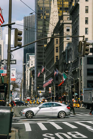 NEW YORK, USA. February 2009. Avenue with car traffic and taxis in Manhattan