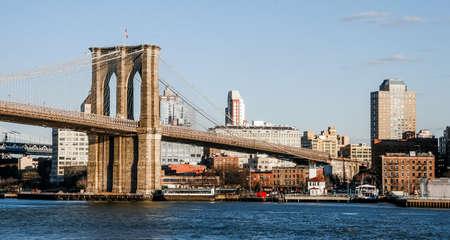 NEW YORK, USA. February 2009. Panoramic view of the Brooklyn Day Bridge. 報道画像