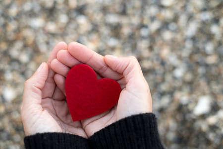 Corazón rojo entre las manos de una mujer sobre un fondo de piedras de playa concepto de San Valentin. Foto de archivo