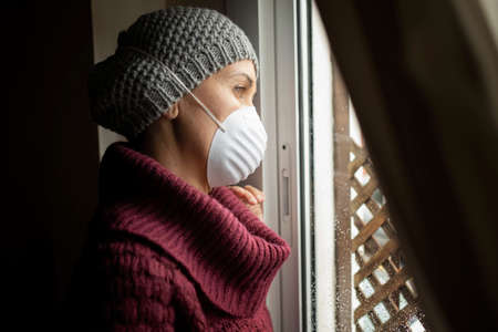 Woman with face masks indoors at home, Corona virus and quarantine concept