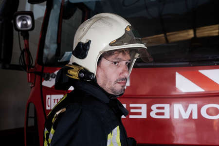 close-up of a fireman at the station
