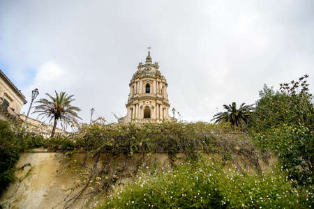 Landscape with San Giorgio Cathedral in Modica Stock Photo