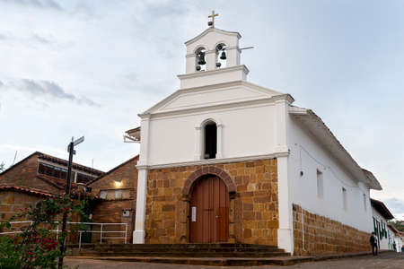 San Antonio Chapel Facade in Barichara - Colombia Stock Photo