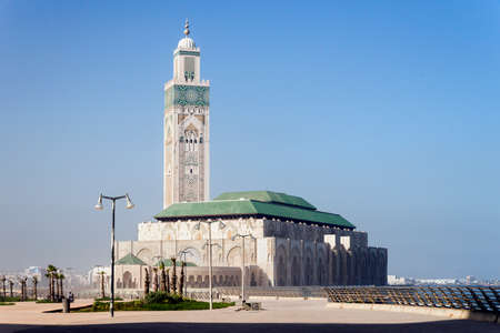 Panoramic Views of Hassan II Mosque in Casablanca, Morocco.